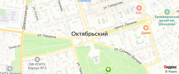 Пионерский проезд на карте Октябрьского с номерами домов