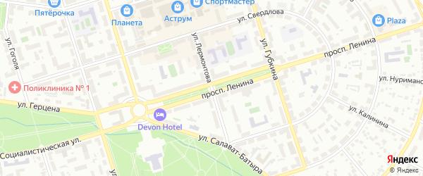 Улица Лермонтова на карте Октябрьского с номерами домов