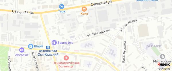 Улица Луначарского на карте Октябрьского с номерами домов