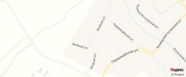 Зеленая улица на карте села Старотураево с номерами домов