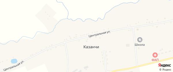Центральная улица на карте села Казанчи с номерами домов