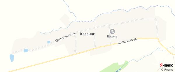 Карта села Казанчи в Башкортостане с улицами и номерами домов