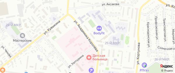 Улица Академика Королева на карте Октябрьского с номерами домов