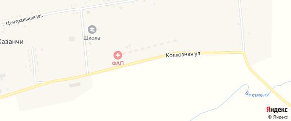 Колхозная улица на карте села Казанчи с номерами домов