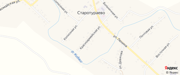 Красноармейская улица на карте села Старотураево с номерами домов