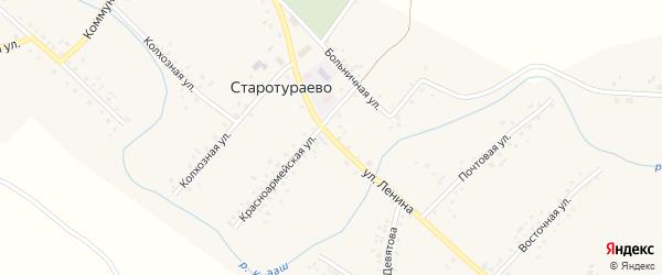 Улица Ленина на карте села Старотураево с номерами домов