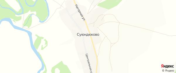 Карта села Суюндюково в Башкортостане с улицами и номерами домов