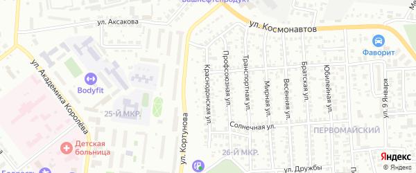 Краснодонская улица на карте Октябрьского с номерами домов