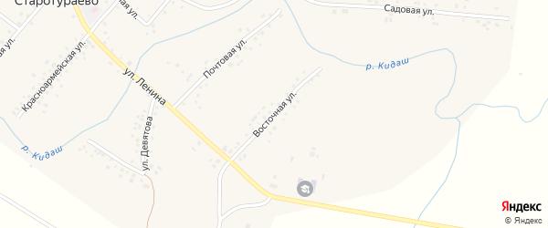 Восточная улица на карте села Старотураево с номерами домов