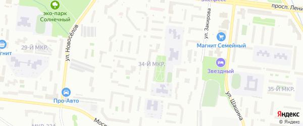 34-й микрорайон на карте Октябрьского с номерами домов