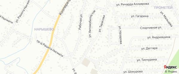 Улица Автомобилистов на карте Октябрьского с номерами домов