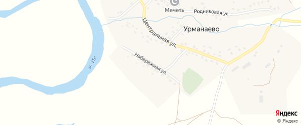 Набережная улица на карте села Урманаево с номерами домов