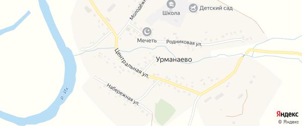 Центральная улица на карте села Урманаево с номерами домов