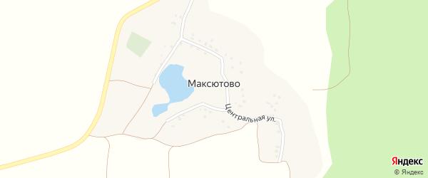Центральная улица на карте деревни Максютово с номерами домов