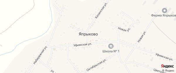 Зеленая улица на карте села Япрыково с номерами домов