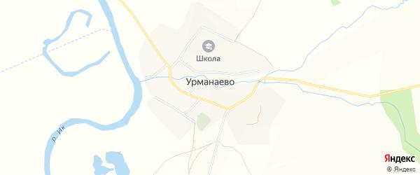 Карта села Урманаево в Башкортостане с улицами и номерами домов