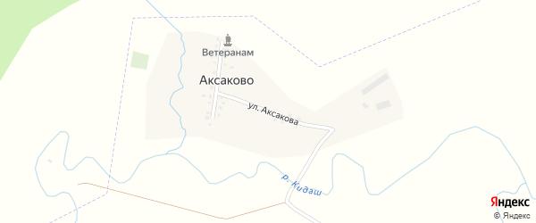 Улица Аксакова на карте деревни Аксаково с номерами домов