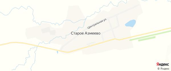 Карта села Старое Азмеево в Башкортостане с улицами и номерами домов