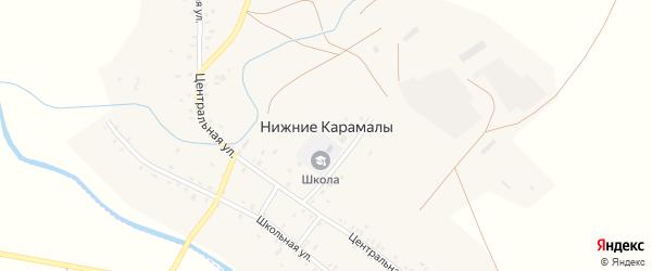 Центральная улица на карте села Нижние Карамалы с номерами домов