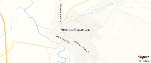 Карта села Нижние Карамалы в Башкортостане с улицами и номерами домов