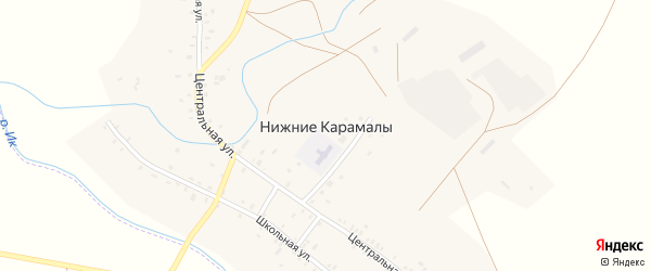Школьная улица на карте села Нижние Карамалы с номерами домов