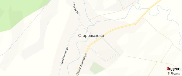 Карта села Старошахово в Башкортостане с улицами и номерами домов