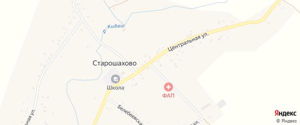 Центральная улица на карте села Старошахово с номерами домов
