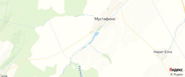 Карта Мустафинского сельсовета республики Башкортостан с районами, улицами и номерами домов