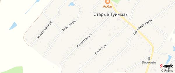 Советская улица на карте села Старых Туймазы с номерами домов