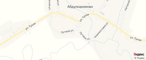 Луговая улица на карте села Абдулкаримово с номерами домов