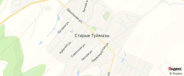 Карта села Старых Туймазы в Башкортостане с улицами и номерами домов