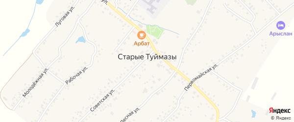 Зеленая улица на карте села Старых Туймазы с номерами домов