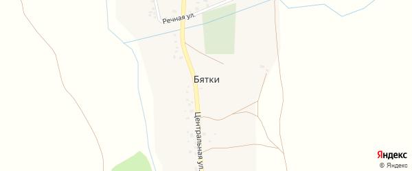 Центральная улица на карте деревни Бятки с номерами домов
