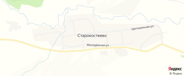 Карта села Старокостеево в Башкортостане с улицами и номерами домов