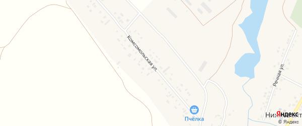 Комсомольская улица на карте села Нижнезаитово с номерами домов