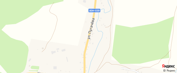 Улица Пугачева на карте села Ермекеево с номерами домов