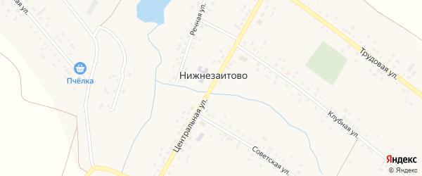 Центральная улица на карте села Нижнезаитово с номерами домов