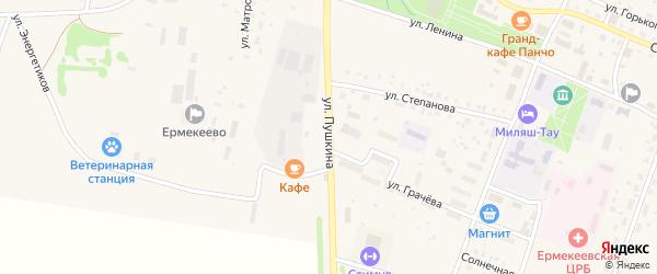 Улица Пушкина на карте села Ермекеево с номерами домов