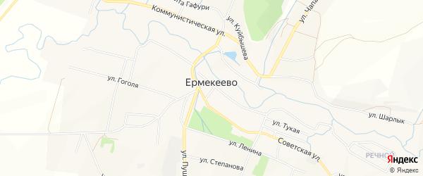 Карта села Ермекеево в Башкортостане с улицами и номерами домов