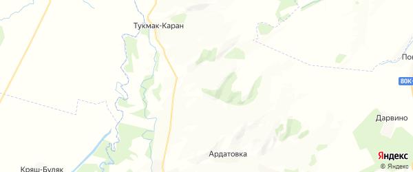 Карта Какрыбашевского сельсовета республики Башкортостан с районами, улицами и номерами домов
