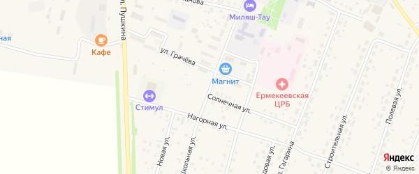 Школьная улица на карте села Ермекеево с номерами домов