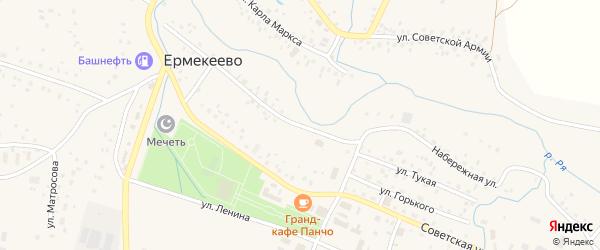 Набережная улица на карте села Ермекеево с номерами домов