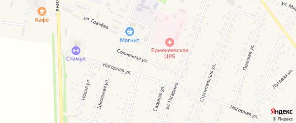 Солнечная улица на карте села Ермекеево с номерами домов