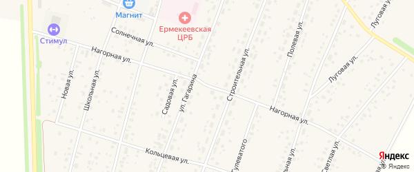 Нагорная улица на карте села Ермекеево с номерами домов