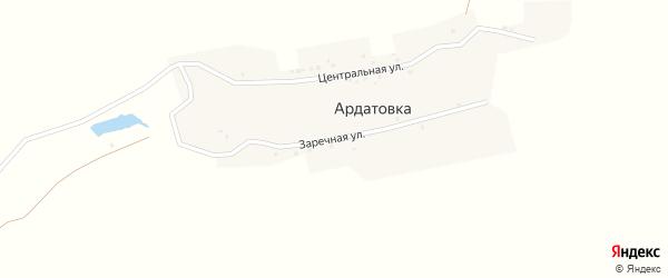 Заречная улица на карте деревни Ардатовки с номерами домов