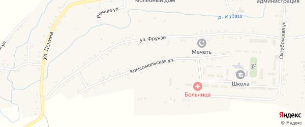 Комсомольская улица на карте села Нижнетроицкого с номерами домов