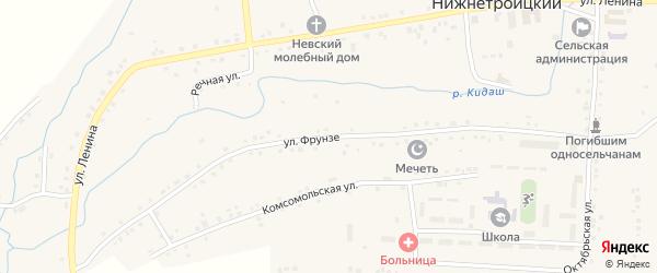 Улица Фрунзе на карте села Нижнетроицкого с номерами домов