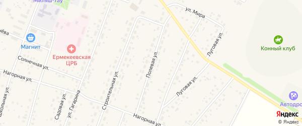 Полевая улица на карте села Ермекеево с номерами домов