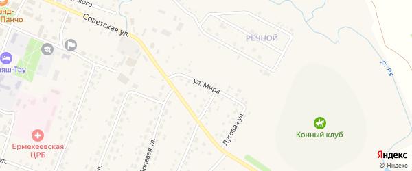Улица Мира на карте села Ермекеево с номерами домов