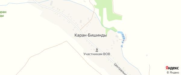 Речной переулок на карте деревни Карана-Бишинды с номерами домов